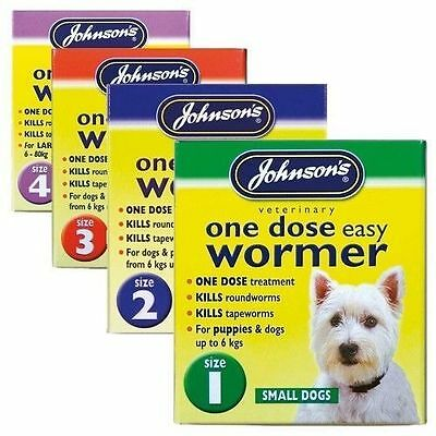 Johnsons One Dose Easy Wormer Worming tablets for Dogs