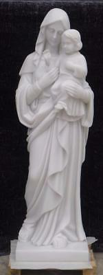 Beautiful 4' Tall Hand Carved Mother Mary And Jesus Marble Statue - Z4L