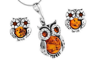 Owls Set Sterling Silver 925 Baltic Amber Pendant Stud Earrings Jewellery +Chain