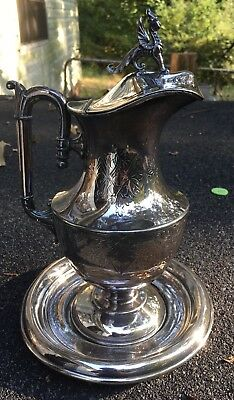 Simpson Hall Miller Silver Water Pitcher With Lid & Finial Gargoyle