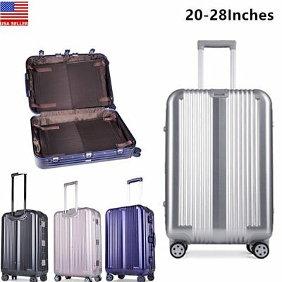 20-28''Aluminum Alloy Luggage Travel Set Bag Trolley Spinner Carry On Suitcase