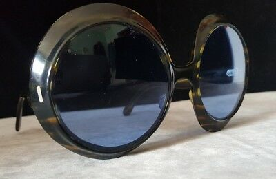Vintage 60's Mod Sunglasses Made in France - Large Round Lens