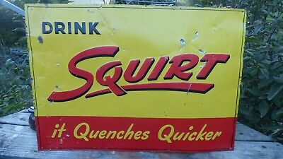 "Vintage 1947 Drink Squirt 19 x 27"" Metal Advertising Sign- Tin, Soda Pop, Cola"
