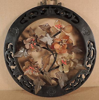 VINTAGE CHINESE JADE TREE WALL PLAQUE IN WOOD FRAME b
