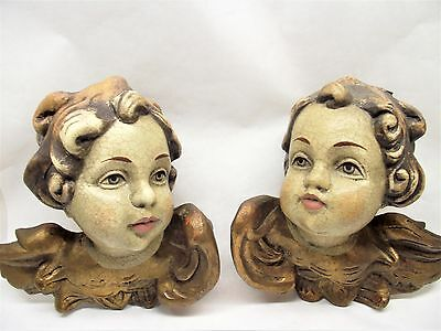 Vtg Antique Carved Putti Angel Cherub Wings Pair Faces Gilted Wall Art Free S/H