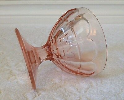 Vintage Hazel Atlas early '30s; Colonial-BLOCK PINK-Depression-Glass Sherbet