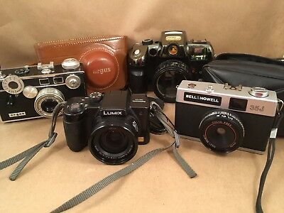 Mixed Lot Of 4 Vintage Cameras. Argus, Lumix, Bell & Howell And Magnabox