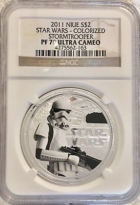 2011 $2 NIUE Star Wars Stormtrooper Colorized 1oz. Silver Coin - NGC PF 70