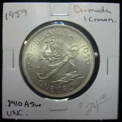 1959 1 Crown Bermuda Silver Coin. Uncirculated.  (0917210)
