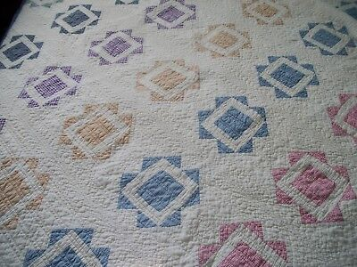 Antique Hand Made Quilt Graphic Pattern with Exquisite Quilting dated 1927