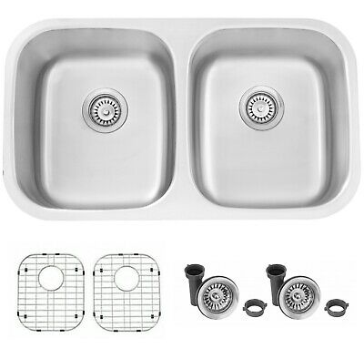 "32"" Double Bowl Undermount Sink, with grids S-200XG - Jaspel"