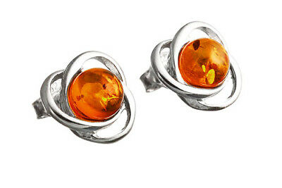 925 Sterling Silver Natural Cognac Baltic Amber Stud Earrings Jewellery Jewelry