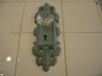Shabby Cottage Chic Cast Metal Wall Hook Door Knob Hanger Turquoise Blue Patina