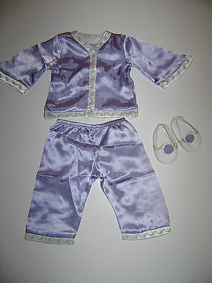 American Girl Doll Nellie PJ Outfit 4Pc Purple Pants Shirt Shoes RETIRED RARE