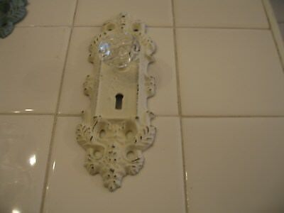 Shabby Cottage Chic Cast Metal Wall Hook Door Knob Hanger Off White Patina