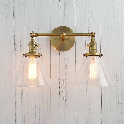 Permo Double Sconce Vintage Industrial Antique 2-lights Wall Sconces with Funnel
