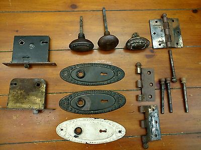 Antque Old 2 MORTISE Door Locks, 3 Handles 3 Backplates 4Cannon Ball Pins&Hinge