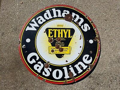 Original early Wadhams Gasoline motor oil porcelain sign mobil gas ethyl