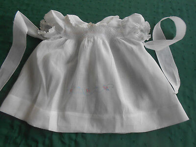 """Antique """"nannette"""" White Cotton Baby Dress/hand Embroidery&smocking, Circa1950"""