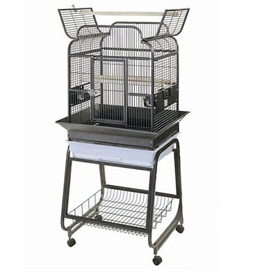 Strong Parrot Cage Villa Large Metal Bird Aviary Gaia Silverstone Grey 93030
