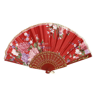 Chinese Style Flower Pattern Plastic Frame Folding Hand Fan Red G4F7