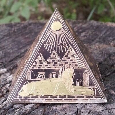 Antique Egyptian Bronze Power Pyramid~Etched Brass/Copper~Ancient Egypt King Tut
