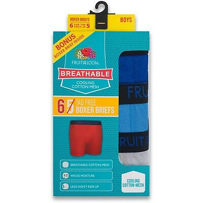 Fruit of the Loom Boys Breathable Boxer Brief 5 or 6 Pack