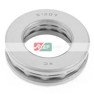 51207 Carbon Steel Magnetic Axial Thrust Ball Bearing Silver Tone 35 x 62 x 18mm