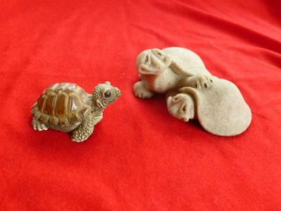 Two Turtle Figures ~ 2000 Quarry Critters  &  A Stone Critter Little Turtle