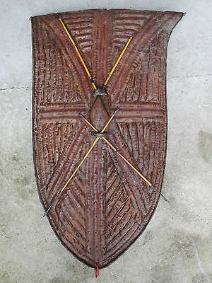 Antique large shield african leather kirdi ? art ethnic with darts