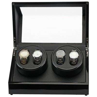New Double Automatic Rotation 4 Watch Winder Case Wood Display Box Motor Pro