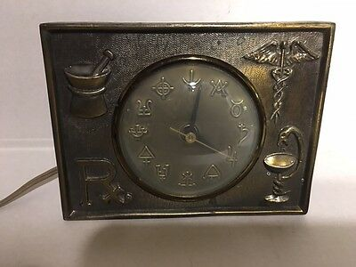 Antique Vintage Brass Pharmacy Rx Clock! Excellent!