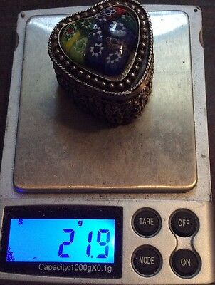 Vintage Sterling Silver 925 Pill Trinket Box 22 Grams & Ornate Milleflora Glass
