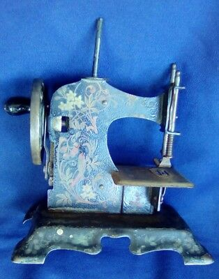 Antique Victorian Ornate German Child's TOY  SEWING MACHINE Hand Crank
