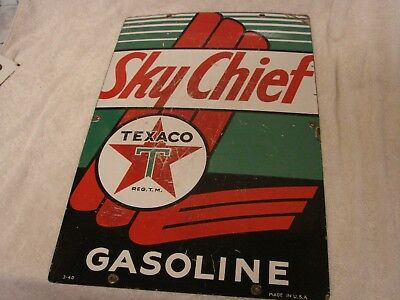 "Texaco Sky Chief Gasoline 3-40 Porcelain Pump Sign 18"" X 12""  Good Sign +"