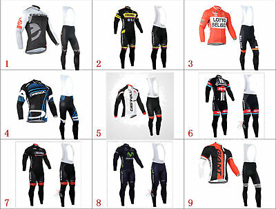 KJ2342 Mens MTB Cycling Winter Thermal Fleece long sleeve jersey Bib Pants Kits