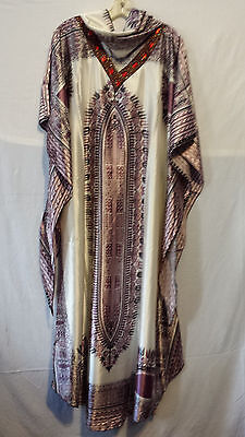 Women African Kaftan Caftan long Dress Gown Maxi Dashiki Print Free Size Rust