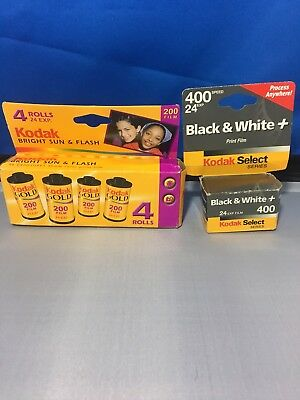 Kodak Select Series black and white film 400 24 exp and 4 rolls kodak gold 200