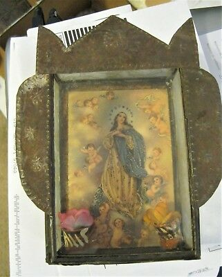 Vintage Hand Crafted Tin Nicho With Color Print Of Virgin Mary With Angels