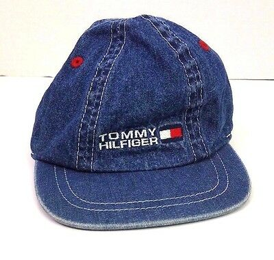 Tommy Hilfiger 1990s denim spell out logo hat cap babies toddlers size large xl