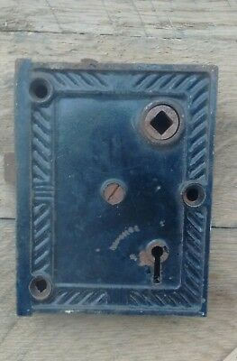 Antique Vintage Ornate Cast Iron Rim Door Lock