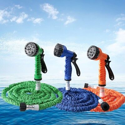25FT/50FT/100FT Expandable Garden Hose Water Pipe with 7 Modes Spray Gun
