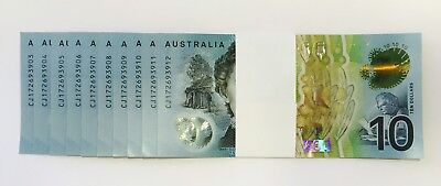 TEN (10) x CONSECUTIVE 2017 Reserve Bank NEW $10 Poly Note - UNC - Ready To Ship