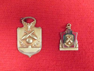 Vintage Pair of Antique Bowling Champs Award Medals Y 1934 & 1937 Pendants Rare!