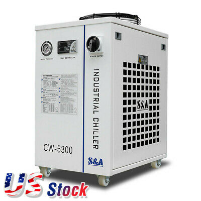 110V CW-5300DI Industrial Water Chiller for one 200W CO2 laser, 18KW CNC Spindle