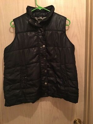 Motherhood Maternity Medium Quilted Vest Coat Maternity Black