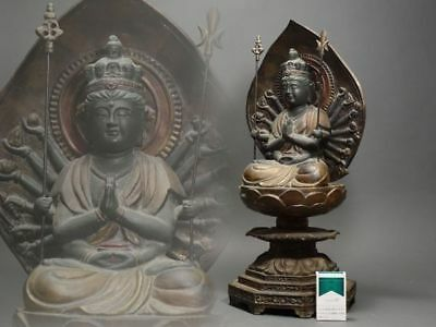 Japanese Old Large Buddha Statue signed and Handmade / 千手観音坐像 / H 61[cm] 13kg