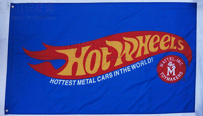 Large 150cm*90cm Blue Hot wheels Flag Hotwheels car banner flags 3X5 Ft