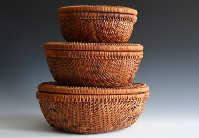 A Set Of Antique Graduated Hand Woven Japanese Baskets