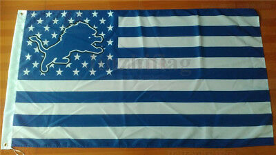 Large 150cm*90cm FOR Detroit Lions with US Stars Stripes Flag 3x5FT Polyester